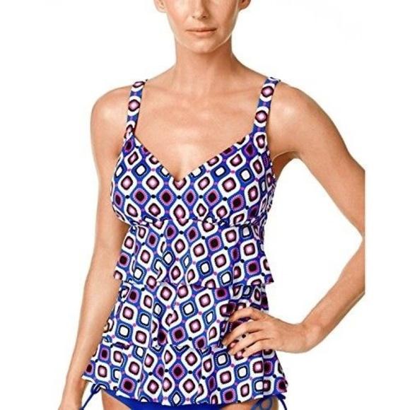 db1097c3570 Swim Solutions Plus Size Tiered Tankini Top